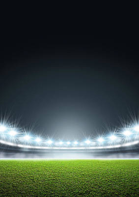 Stadium Digital Art - Generic Floodlit Stadium by Allan Swart