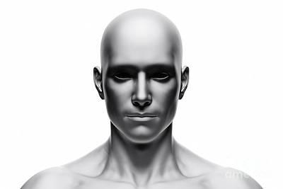 Generic Human Man Face, Front View. Futuristic Art Print by Michal Bednarek