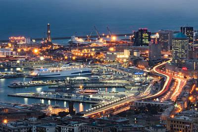 Genoa Photograph - Genoa Blue Hour by Claudio Bergero