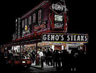 Genos Photograph - Geno's In Philly by Mountain Dreams