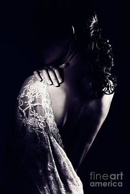 Photograph - Gentle Woman Wearing Lace Dress by Anna Om