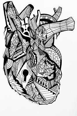 Drawing - Geometric Heart by Kenal Louis