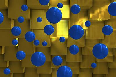 Balls Digital Art - Geometric Scene With Blue Balls by Alberto RuiZ