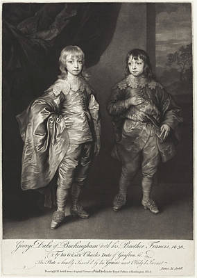 Painting - George Duke Of Buckingham With His Brother Francis by James MacArdell after Sir Anthony van Dyck