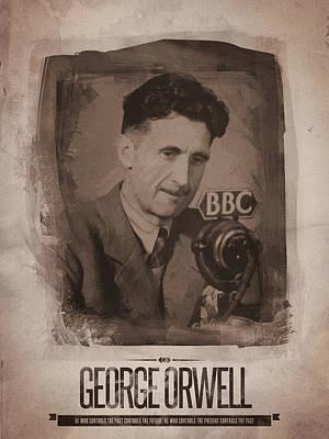 Retro Digital Art - George Orwell 01 by Afterdarkness