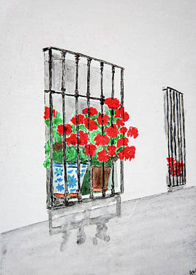 Painting - Geraniums In Window by Amber Woodrum