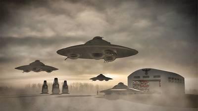 Fantasy Digital Art - German WWII UFO by Raphael Terra by Raphael Terra