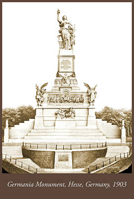Photograph - Germania Monument, Hesse Germany, 1903, Vintage Photograph by A Gurmankin