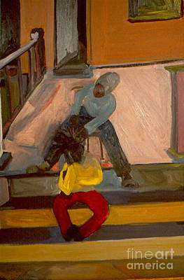 Art Print featuring the painting Gettin Braids by Daun Soden-Greene