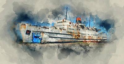 Sailboat Ocean Mixed Media - Ghost Ship by Ian Mitchell