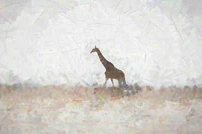 Digital Art - Giraffe Abstract by Ernie Echols