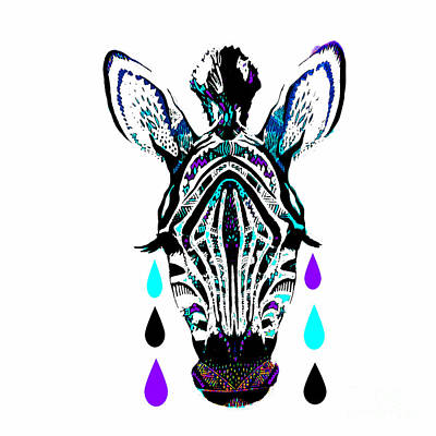 Painting - Giraffe And Tear Drops by Saundra Myles