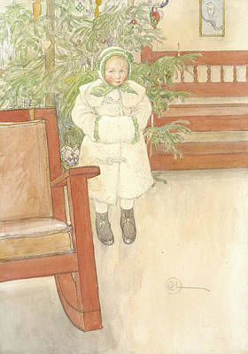 Rocking Chairs Painting - Girl And Rocking Chair by Carl Larsson