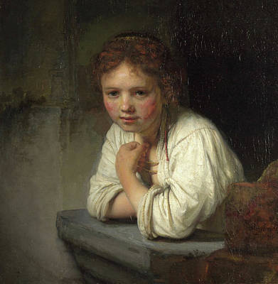 Adolescent Painting - Girl At A Window by Rembrandt van Rijn