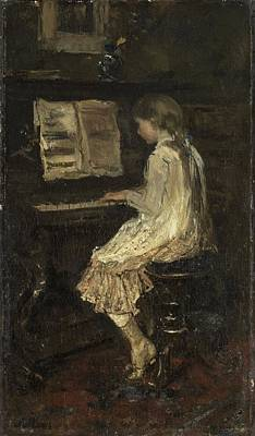 Girl Playing Piano Painting - Girl At The Piano by Jacob Maris