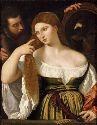 Venetian Glass Painting - Girl Before The Mirror by Titian