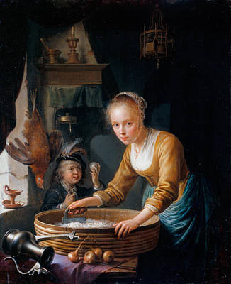 Dow Painting - Girl Chopping Onions by Gerrit Dou