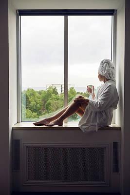 Grateful Dead - Girl In A Bathrobe And Towel On Head Sitting by Elena Saulich