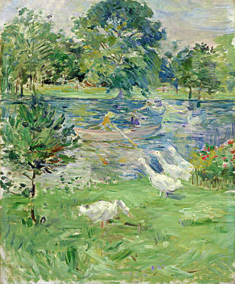 Painting - Girl In A Boat With Geese by Berthe Morisot