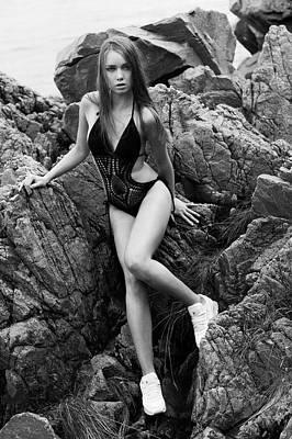 Girl In Black Swimsuit Art Print