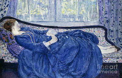 Woman At The Window Painting - Girl In Blue by Frederick Carl Frieseke