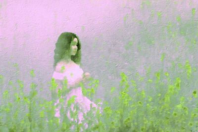 Mixed Media - Girl In Field by Femina Photo Art By Maggie