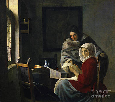 Sheet Music Painting - Girl Interrupted At Her Music by Jan Vermeer