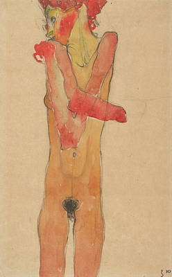 Modern Painting - Girl Nude With Folded Arms by Egon Schiele