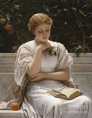 Silk Painting - Girl Reading by Charles Edward Perugini