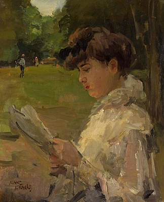 Isaac Painting - Girl Reading by Isaac Israels
