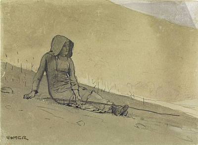 Winslow Homer Drawing - Girl Seated On A Hillside by Winslow Homer
