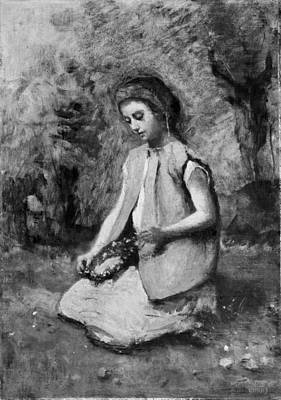 Girl Weaving A Garland Original by Camille Corot