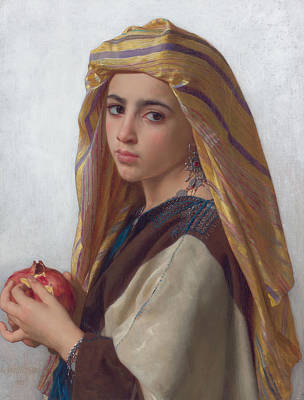 Painting - Girl With A Pomegranate by William-Adolphe Bouguereau