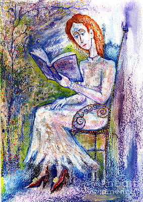 Girl With Book Original by Milen Litchkov