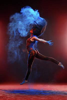 Girl With Colored Powder Art Print by Olena Zaskochenko