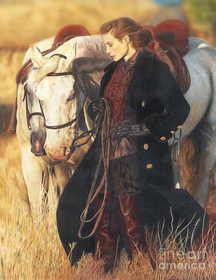 Animal Drawing - Girl With Horses by Bretislav Stejskal