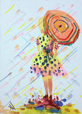 Painting - Girl With Umbrella by Patricia Lazaro
