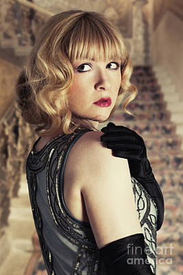 Long Gloves Photograph - Glamorous Twenties Woman by Amanda Elwell