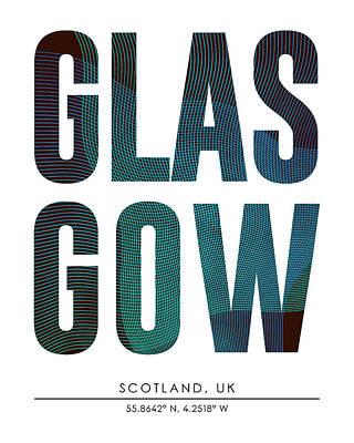 Mixed Media - Glasgow, Scotland, United Kingdom - City Name Typography - Minimalist City Posters by Studio Grafiikka