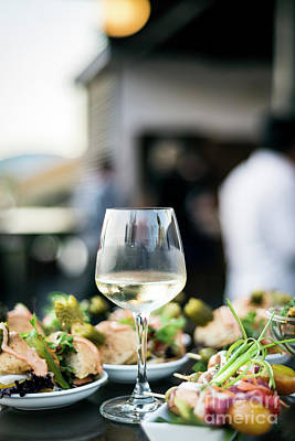 Winter Animals - Glass Of White Wine With Gourmet Food Tapa Snacks Outside by JM Travel Photography
