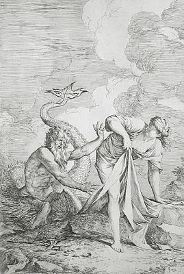 Greek Gods Relief - Glaucus And Scylla by Salvator Rosa