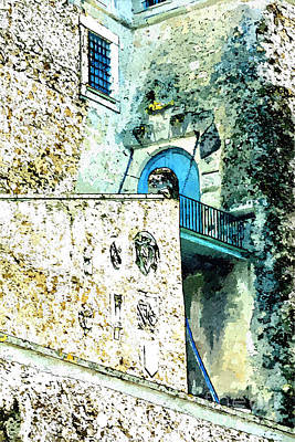 Painting - Glimpse Of The Castle Entrance by Giuseppe Cocco