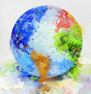 Geography Digital Art - Globe Painting by Setsiri Silapasuwanchai