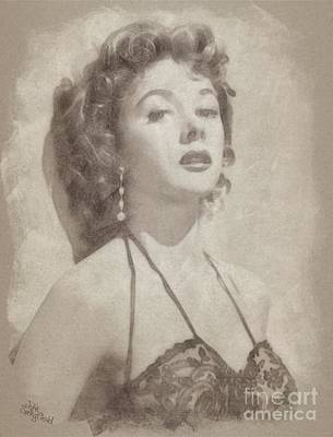 Gloria Drawing - Gloria Grahame, Vintage Hollywood Actress by John Springfield