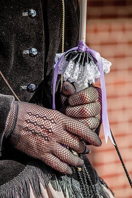 Photograph - Gloved Hands Holding Parasol by Teresa Wilson