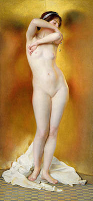 Full-length Portrait Painting - Glow Of Gold Gleam Of Pearl by William McGregor Paxton