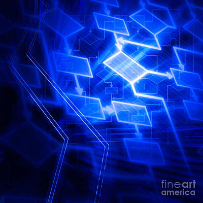 Algorithm Photograph - Glowing Blue Flowchart by Oleksiy Maksymenko