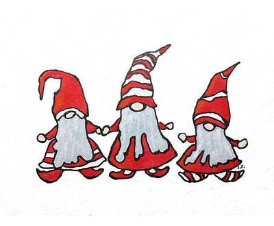 Drawing - Gnomes by Cristina Stefan