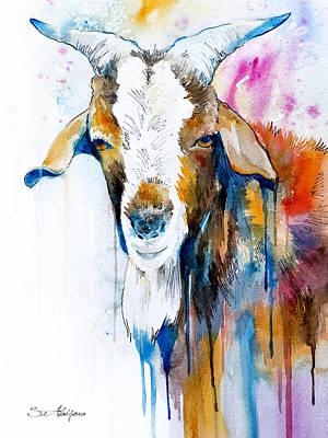Goat Mixed Media - Goat  by Slavi Aladjova