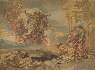 Drawing - God The Father Appearing To Jacob by Giovanni Benedetto Castiglione